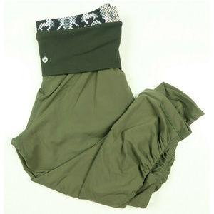 Lululemon Green Stretch Cotton Cropped Yoga Pants